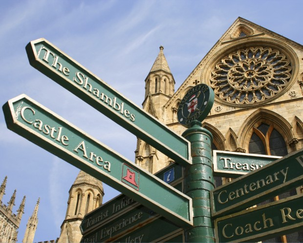 Sign post in front of York Minster.