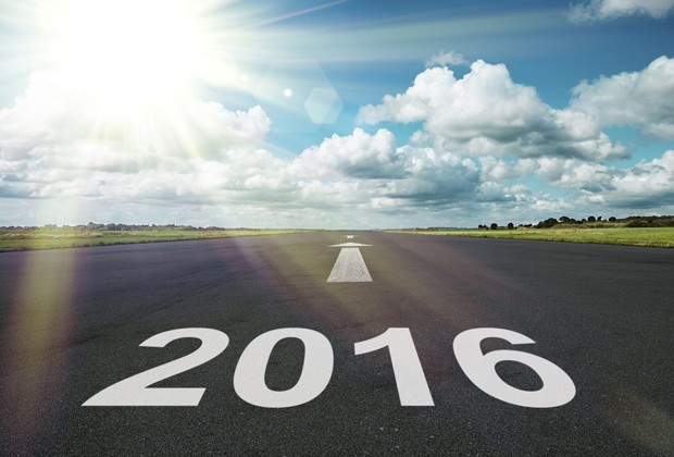 2016 written on a road which leads out to the horizon