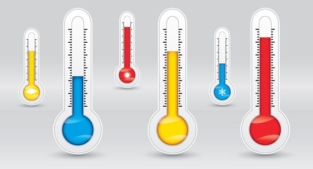 Three thermometers with different temperatures