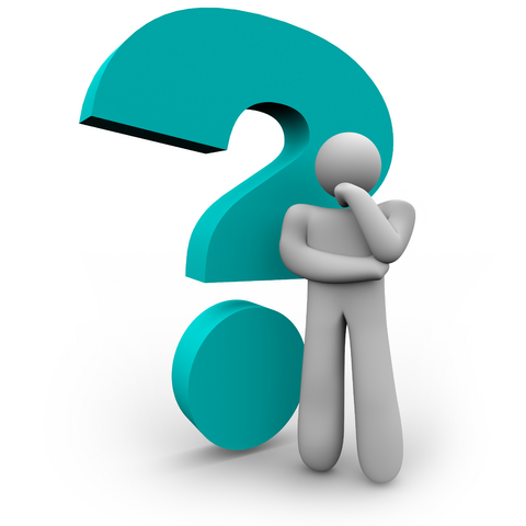 A figure standing in front of a large question mark