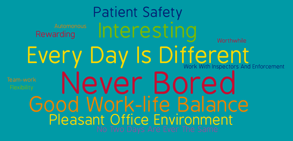 What the team says about working in DMRC: Interesting, automonous, rewarding, worthwhile, every day is different, work with inspectors and enforcement, never bored, team work, flexibility, good work-life balance, pleasant office environment, no two days are ever the same.