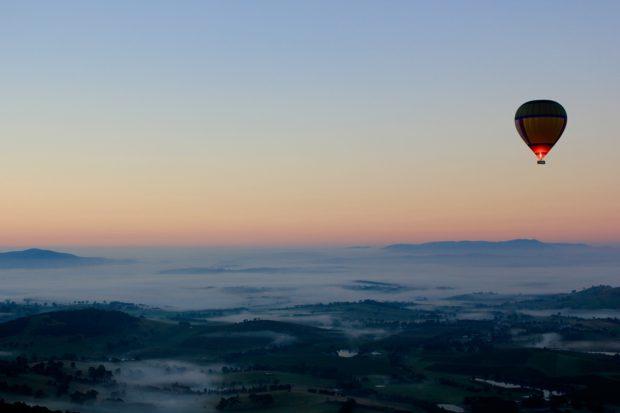 Hotair balloon in the sky