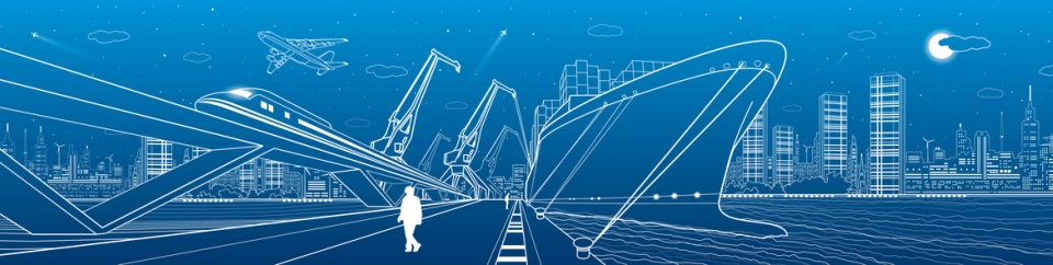 Person walking beside cargo ship, train and airplane