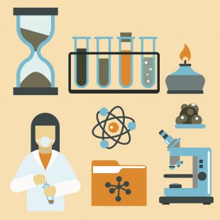 Lab worker alongside lab equipement including test tubes, bunsen burner, timer and microscope