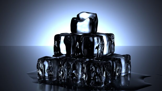 Tower of ice cubes starting to defrost