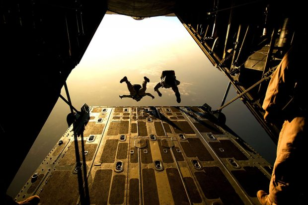 Sky divers jumping from a plane