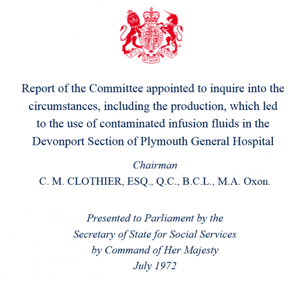 Title page of the Clothier Report, showing the report's title, chairman and date of presentation to Parliament