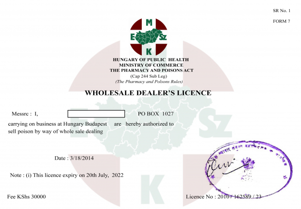 Example of falsified wholesale dealer licence