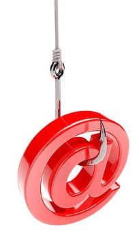 model of an @ symbol on the end of a fishing hook representing email scam