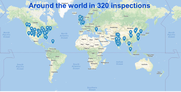 Around the world in 320 inspections: world map flagged to show GMP inspection sites: UK, North America, Asia