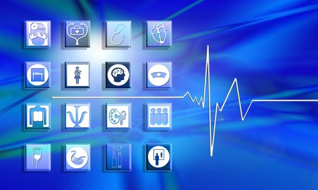 decorative image showing an ecg and various health images