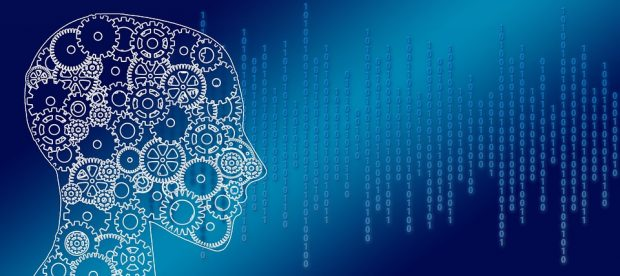Human head with cogs and binary code representing information