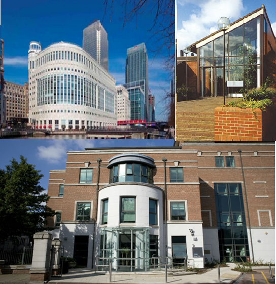 Clockwise from top left, MHRA offices at Canary Wharf, Potters Bar and York