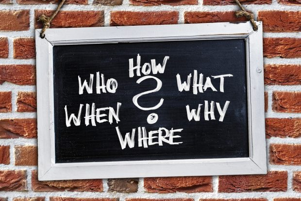 Questions: Who, How, What, When, Why and Where on a blackboard
