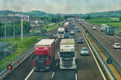 Lorries travelling along a motorway